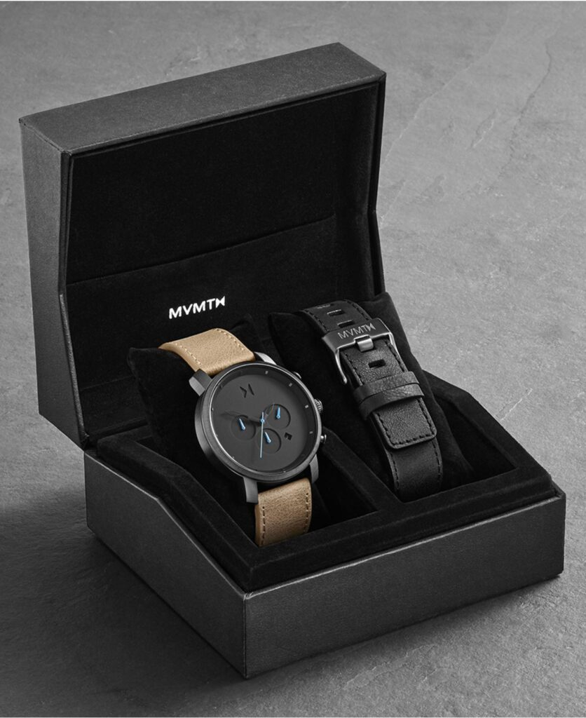 MVMT Sandstone Chronograph Gunmetal Sandstone Leather Watch Set